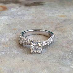 Diamond Engagement Ring 14k White Gold or by ldiamondsforever