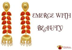 A stunning pair of Red Coral and Gold jhumki's with pearl drop is all you need to accessories your ethnic outfit!