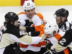 Two Flyers and a referee? Subway sandwich coming right up! Photo from the April Fool's Day Melee of 2012 Arron Asham, Funny Blogs, Flyers Hockey, Catholic High, Fly Guy, Philadelphia Flyers, Referee, Pittsburgh Penguins, Sexy Men