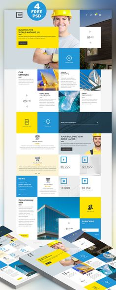 <p>Download  Construction Business Website Free PSD Template. It was designed particularly for Construction, Building and Architecture companies or those with similar services. This Premium freebie PSD contain 4 page template such as Home, News and Events, Blog Post and Services. Construction Business Website Free PSD Template is based on Bootstrap grid. Hope you like it. Enjoy!</p>