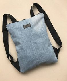 Denim backpack set Recycled denim rucksack with purse Jeans