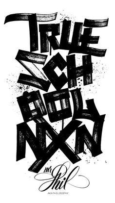 Wide Marker Lettering Street Typography New York Oldschool Hip hop inspired blackletters