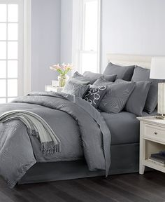 Martha Stewart Collection Juliette Graphite 14-Pc. Comforter Sets, Only at Macy's - Bed in a Bag - Bed & Bath - Macy's