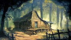 fantasy cabins | Woodland Cottage, cabin, cottage, fantasy, forest, house, trees
