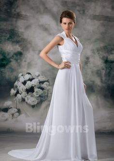 V-neck Open Back Zipper Chiffon Ruched A-line White Sweep Sleeveless Wedding Dresses