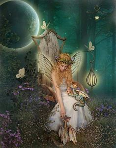 Fairy with young dragons