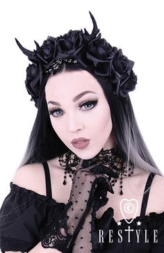 Gothic hairpiece with antlers The wide headband adorned with black deer antlers…