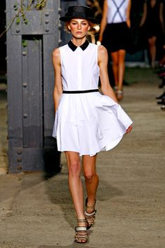 spring 2012 ready-to-wear  Band of Outsiders #black&white shirtdress