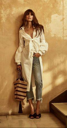 ☆Johanna Ortiz | Resort 2018 shirt dress white cotton