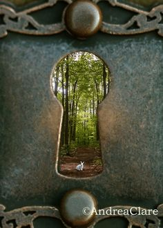 This photograph was inspired by the story Alice in Wonderland, my favorite! Alice looks thru the keyhole to discover the White Rabbit who wants her to follow him.