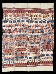 Ijebu Yoruba four panel cloth for chief in Ogboni/Oshugbo society, supplementary weft float motifs represent water spirits. Exceptional C19th example now in MFA Boston.