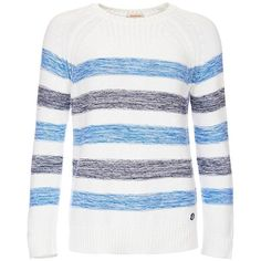 Women's Barbour Dock Knit Sweater - Blue Stripe ($100) ❤ liked on Polyvore featuring tops, sweaters, striped sweater, white sweater, stripe sweaters, blue striped sweater and layered tops