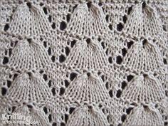 Lucina Shell Lace stitch | knittingstitchpatterns.com