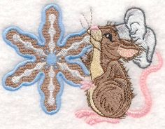 Threadsketches' set Sprinkles on Top - Christmas machine embroidery design, mouse chef with snowflake cookie