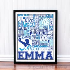 Water Polo Gal in your family?  This print is a great PERSONALIZED gift for any player!  Group discounts are available.  Visit us at: www.printchicks.net  Girls Water Polo Personalized Print - PrintChicks