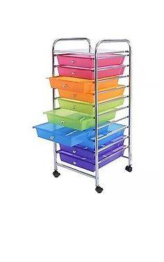 10 Drawer Rolling Storage Cart Scrapbook Paper Office School Organizer Rainbow  | eBay