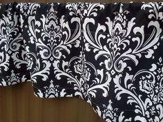 Beautiful Black and White Damask Valance Curtains