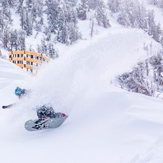 Serious powder in Mammoth California.  #snowboarding