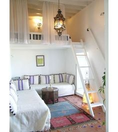 2 story bedroom idea...have a couch on 1st floor so u can lounge around & chill out & then u can just climb the ladder & go to | http://roomdesign14.blogspot.com