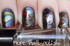 chrome dry marbling - this would make a good galaxy nail base!