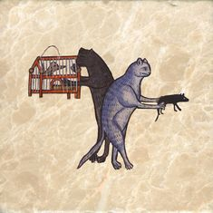 Cats in the Middle Ages with birdcage, 13th century Bestiary, England  Marble Tile by williammorristile.com