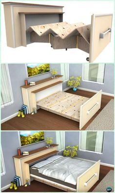DIY Built In Roll Out Bed Plans n Instructions - DIY Space Savvy Bed Frame Design Concepts Instructions Roll Out Bed, Tiny House Plans, Tiny House On Wheels, Tiny House Living, Small Living, Rv Decorating, Built In Bed, Camping Gadgets, Repurposed Furniture