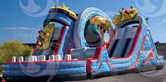 Hold on tight to the bouncy castle roller coaster.