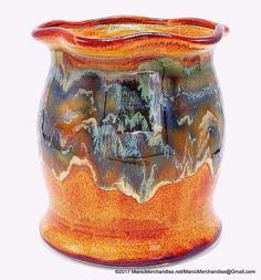 "Drip Glaze Pottery Utensil Holder Crock Sharon Hinton Design Brown Green 7"" USA #HandcraftedArtPottery #Eclectic"