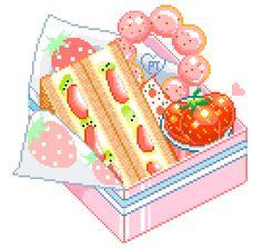 i draw pixel stuff Pixel Art Food, Anime Pixel Art, Food Art, Anime Art, Kawaii Art, Kawaii Anime, Food Illustrations, Illustration Art, Otaku