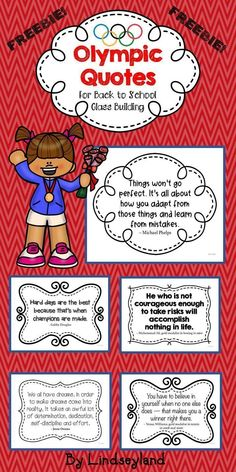 Free Back to School Olympic Quotes will inspire your students to have grit and a growth mindset. Five inspirational saying by famous Olympians on posters. Made by Lindseyland. Class Building Activities, Back To School Activities, Teacher Created Resources, Math Resources, Vacation Bible School, Teacher Appreciation Week, School Themes, Quote Posters, Growth Mindset