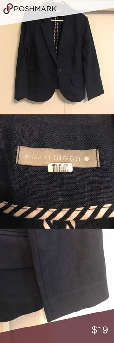Navy linen Olivia Moon blazer from Nordstrom Linen navy one-button women's blazer by Olivia Moon from Nordstrom in size large.  Worn once, by a pet-free, smoke-free, kid-free owner - this classic piece is in immaculate condition! Olivia Moon Jackets & Coats Blazers