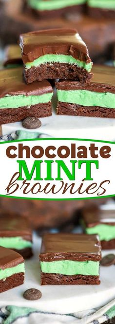 These incredible Chocolate Mint Brownies feature a decadent ganache topping, creamy mint filling, and a moist, rich brownie base. A chocolate and mint lovers dream come true! // Mom On Timeout #brownie #chocolate #mint #dessert #recipe #baking #sweets #Christmas #StPatricksDay