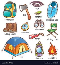 Illustration about Vector illustration of Cartoon Camping equipment vocabulary. Illustration of children, matches, sleeping - 97269043 Learning English For Kids, English Lessons For Kids, English Tips, English Language Learning, English Class, Teaching English, English Vocabulary Words, Learn English Words, English Grammar