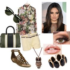 Sem título #95 by amandasawitt on Polyvore featuring moda, GUESS, Sam Edelman, Givenchy, Irene Neuwirth and Ray-Ban