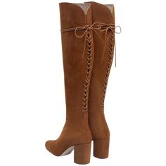 Pre-owned Zara New Tags Tall Knee High Heels Suede Leather Boho Laces... (1 960 ZAR) ❤ liked on Polyvore featuring shoes, boots, natural brown, shearling-lined boots, brown suede knee high boots, suede knee-high boots, knee high boots and high heel boots