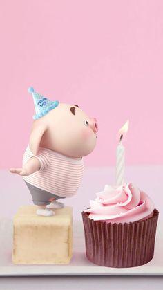 autumn first birthday Happy Birthday Greetings Friends, Happy Birthday Wishes Photos, Birthday Wishes Cake, Happy Birthday Celebration, Pig Birthday, Happy Birthday Quotes, Happy Birthday Cards, Pig Wallpaper, Cute Piglets