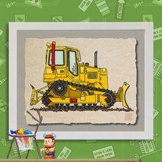 Kid Construction Art 3 Cog Bulldozer Cute dozer by TwoBananasArt, $20.00