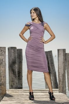 https://www.cityblis.com/6653/item/11094  EDNA asymmetric jersey dress - $182 by LOUISA OKONYE  #asymmetric #jersey #dress #lilac #purple #fitted