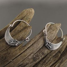 Reminds me of looking at the moon through branches at night in the winter! Crescent Branch Sterling Silver Hoop Earrings by Beth Millner Jewelry- www.bethmillner.com
