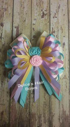 Birthday Felt Bows For Girls. Big Felt Bow With Flowers. Felt And Velvet F Ribbon Hair Bows, Diy Hair Bows, Diy Bow, Ribbon Art, Ribbon Crafts, Toddler Hair Accessories, Hair Bow Tutorial, Felt Bows, Boutique Hair Bows