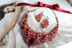 Hey, I found this really awesome Etsy listing at https://www.etsy.com/listing/168263077/red-statement-necklace-wedding-jewelry