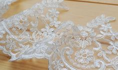 "White Corded Lace Trim, Alencon Lace Applique, Garter Lace, Wedding Embroidered Lace, Bridal Lace - 5"" 13cm Width One Yard Lace by lacecrafted on Etsy"