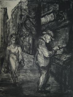 """Mewhinney, Sally (1914-1951) Little known printmaker who worked in New York during the early 1940's """"Book Stall"""" Lithograph, 1942"""