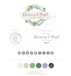 PreMade Botanical Logo design - Watercolor Logo - natural foods logo - catering logo - PreDesigned Custom Logo - herb logo - Organiclogo by IndieGrace on Etsy