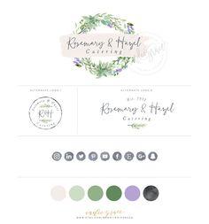 PreMade Botanical Logo design - Watercolor Logo - natural foods logo - catering logo - PreDesigned Custom Logo - herb logo - Organiclogo by IndieGrace on Etsy