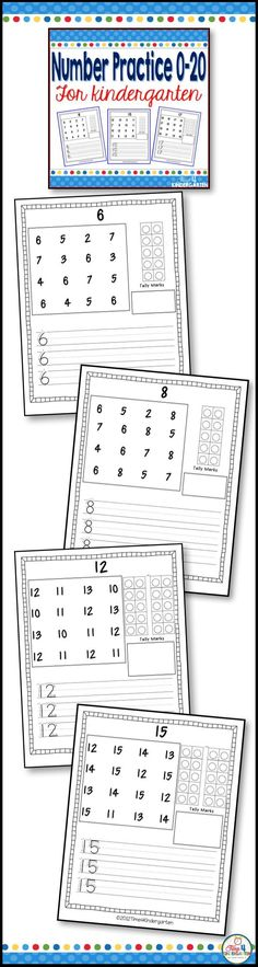 Number practice for kindergarten.  Focus on number writing 0-20, tally marks and ten frames in this kindergarten appropriate resource,