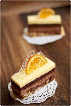 Sadaharu Aoki's Valencia -- components from top : light orange mousse, almond cocoa sponge, milk choc mousse, hazelnut praline feuilletine & hazelnut dacquoise. Fancy Desserts, Just Desserts, Delicious Desserts, Mini Cakes, Cupcake Cakes, Sweet Recipes, Cake Recipes, Orange Mousse, Decoration Patisserie