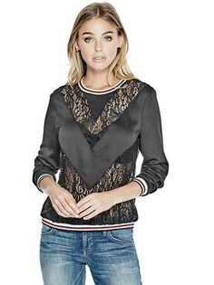 Neveah Lace Mix Pullover | GUESS.com