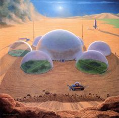 Chesley Bonestell imagines future humans living in a domed colony on Mars, 1963.