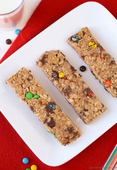 Chewy Granola Bars with Peanut Butter and M&Ms